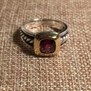 David Yurman Sterling & 18k Gold Garnet Ring